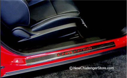 Real all Carbon Fiber door sill Guards with Challenger Logo embedded into sill plate. Add Color vinyl emblem letters to inset in indented logo. : challenger door sills - pezcame.com