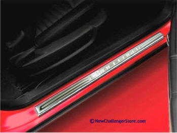 Aluminum door sill Guards with Challenger Logo st&ed into sill plate. Brushed finish with polished logo. Add Color vinyl emblem letters to inset in ... & Dodge Challenger Parts and Accessories Store Door sills